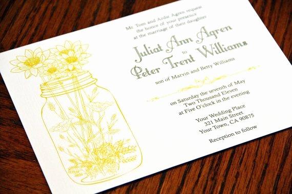 Mason Jar Wedding Invitation Template Elegant Wedding Invitations and Rsvp Mason Jar and Wild Flowers