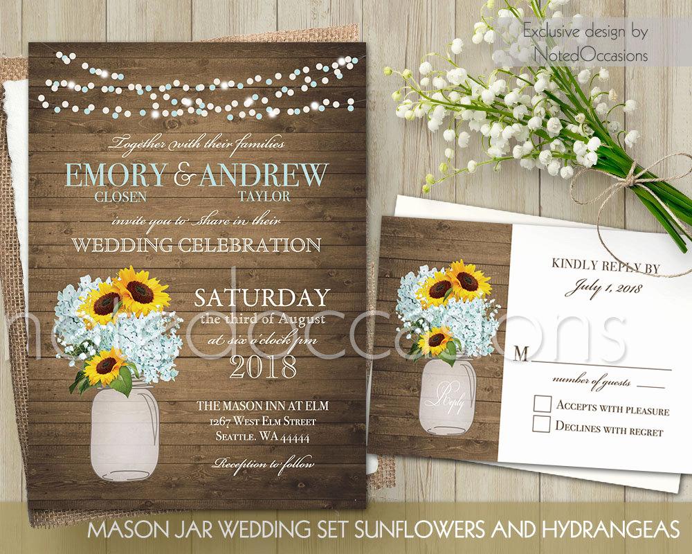 Mason Jar Wedding Invitation Template Fresh Mason Jar Wedding Invitation Set Printable by Notedoccasions