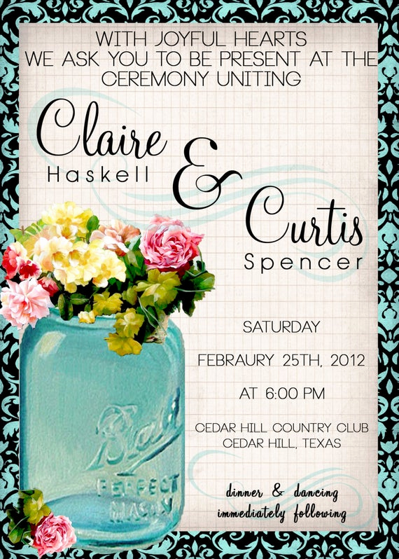 Mason Jar Wedding Invitation Template Inspirational Items Similar to Vintage Mason Jar Wedding Invitation