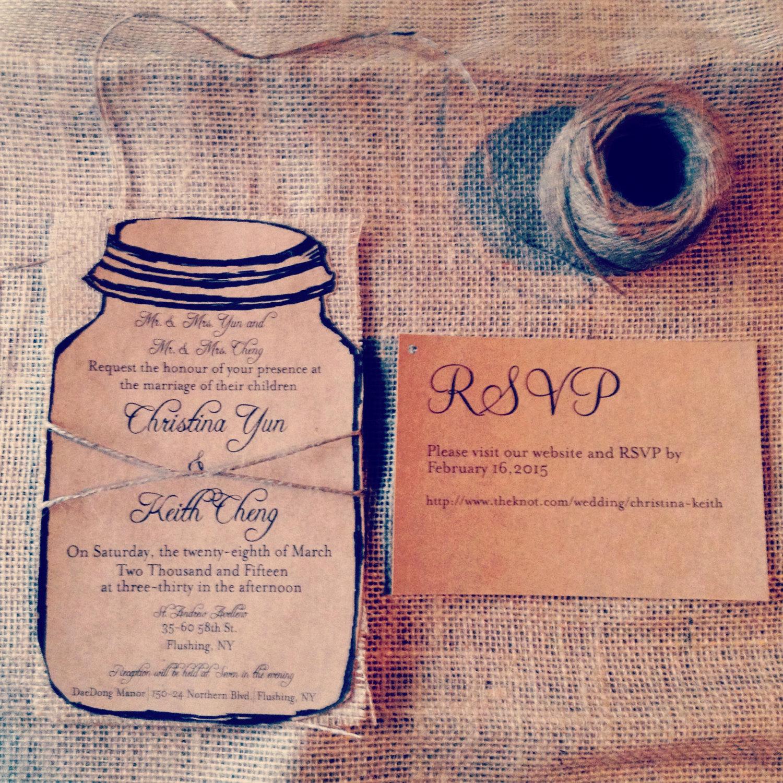 Mason Jar Wedding Invitation Template Luxury Kraft Mason Jar Wedding Invitation with Natural Burlap and
