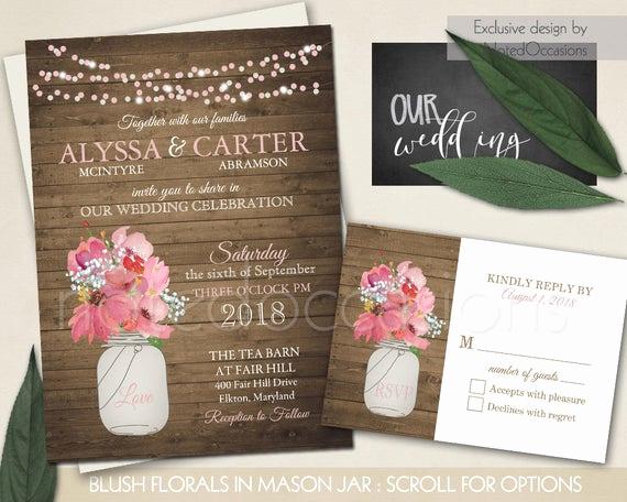 Mason Jar Wedding Invitation Template Luxury Rustic Wedding Invitation Mason Jar Wedding by Notedoccasions