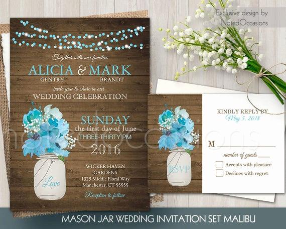 mason jar wedding invitation set rustic