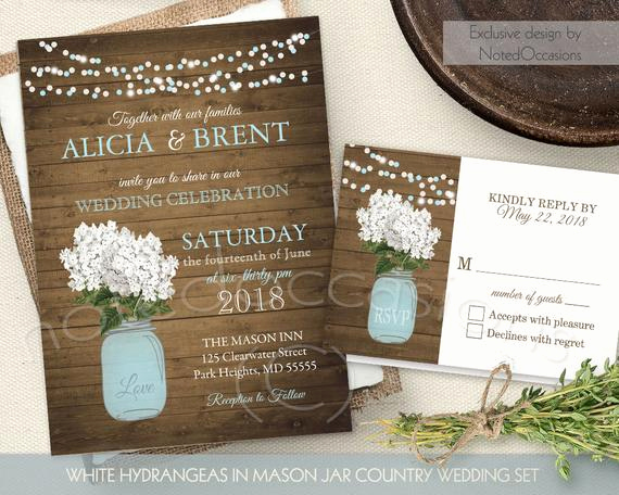 Mason Jar Wedding Invitation Template Unique Rustic Mason Jar Wedding Invitation White by Notedoccasions