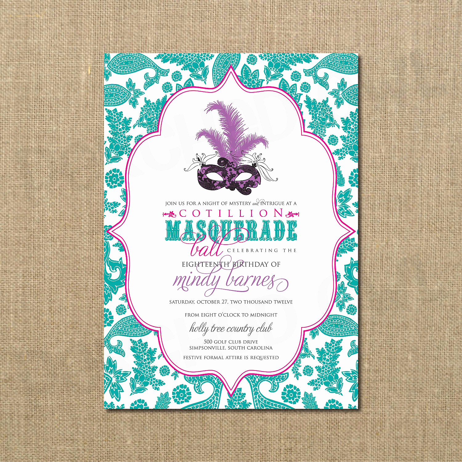 Masquerade Ball Invitation Wording Best Of Cotillion Masquerade Ball Birthday Invitation Masquerade