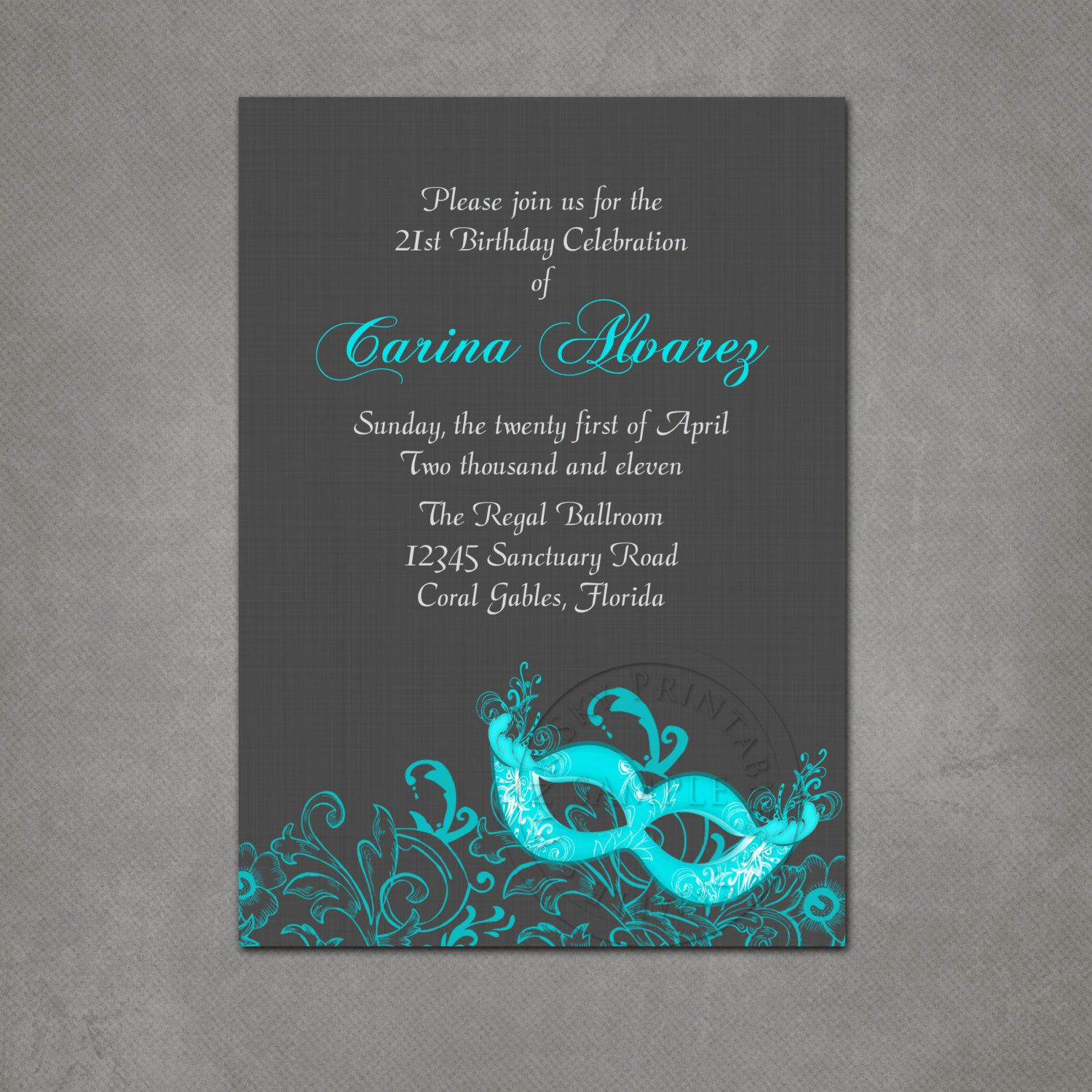 Masquerade Ball Invitation Wording Fresh Masquerade Ball Birthday Party Invitation Printable File