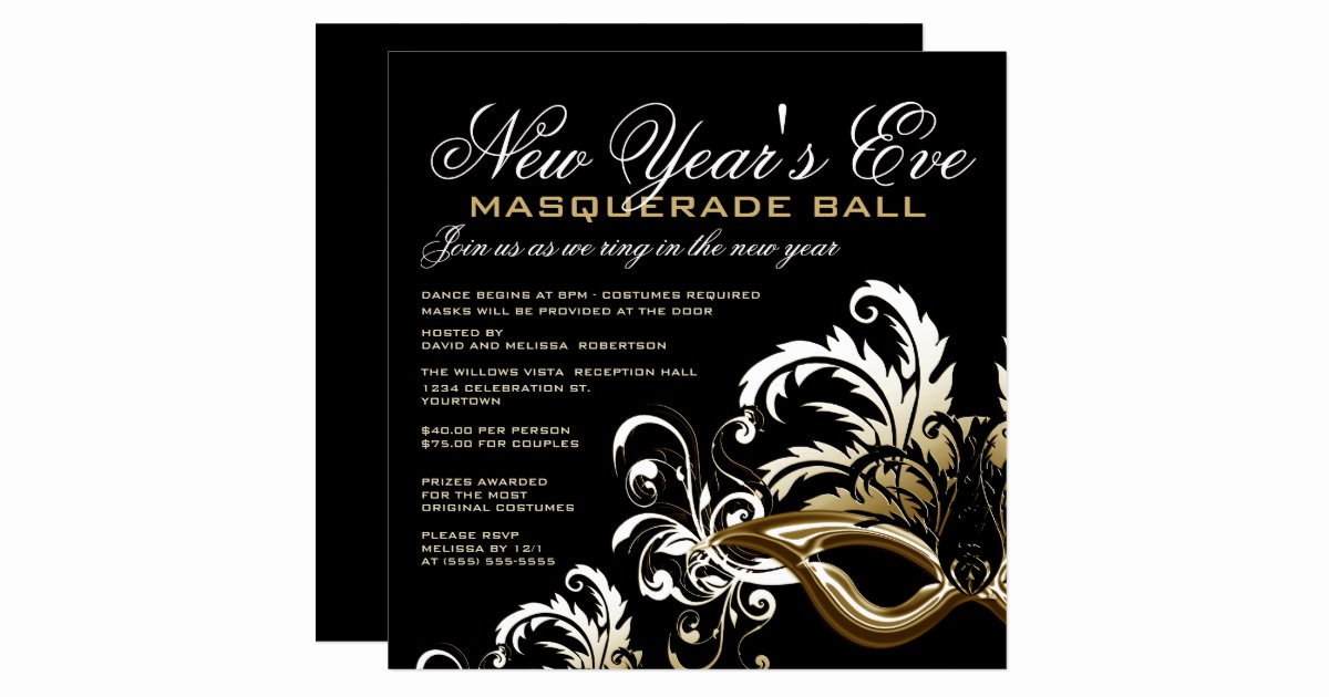 Masquerade Ball Invitation Wording Fresh New Years Eve Masquerade Ball Invitations