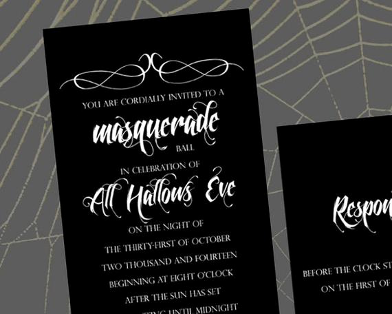 Masquerade Ball Invitation Wording Lovely Items Similar to All Hallows Eve Masquerade Ball A