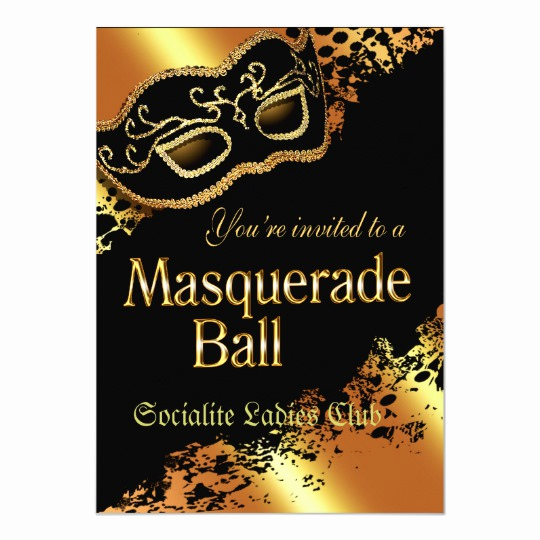 Masquerade Ball Invitation Wording Luxury Custom Metallic Gold Masquerade Ball Invitation