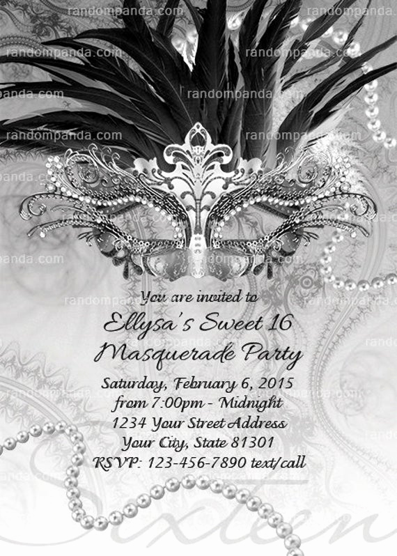 Masquerade Ball Invitation Wording Luxury Masquerade Ball Invitation Black and White Sweet 16 Party