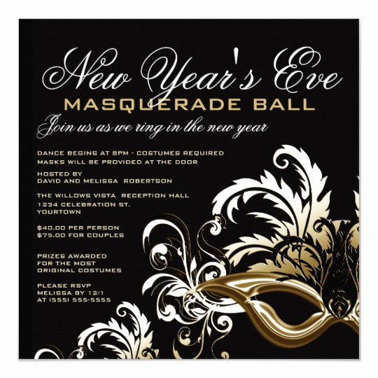 Masquerade Ball Invitation Wording Luxury New Years Eve Masquerade Ball Invitations