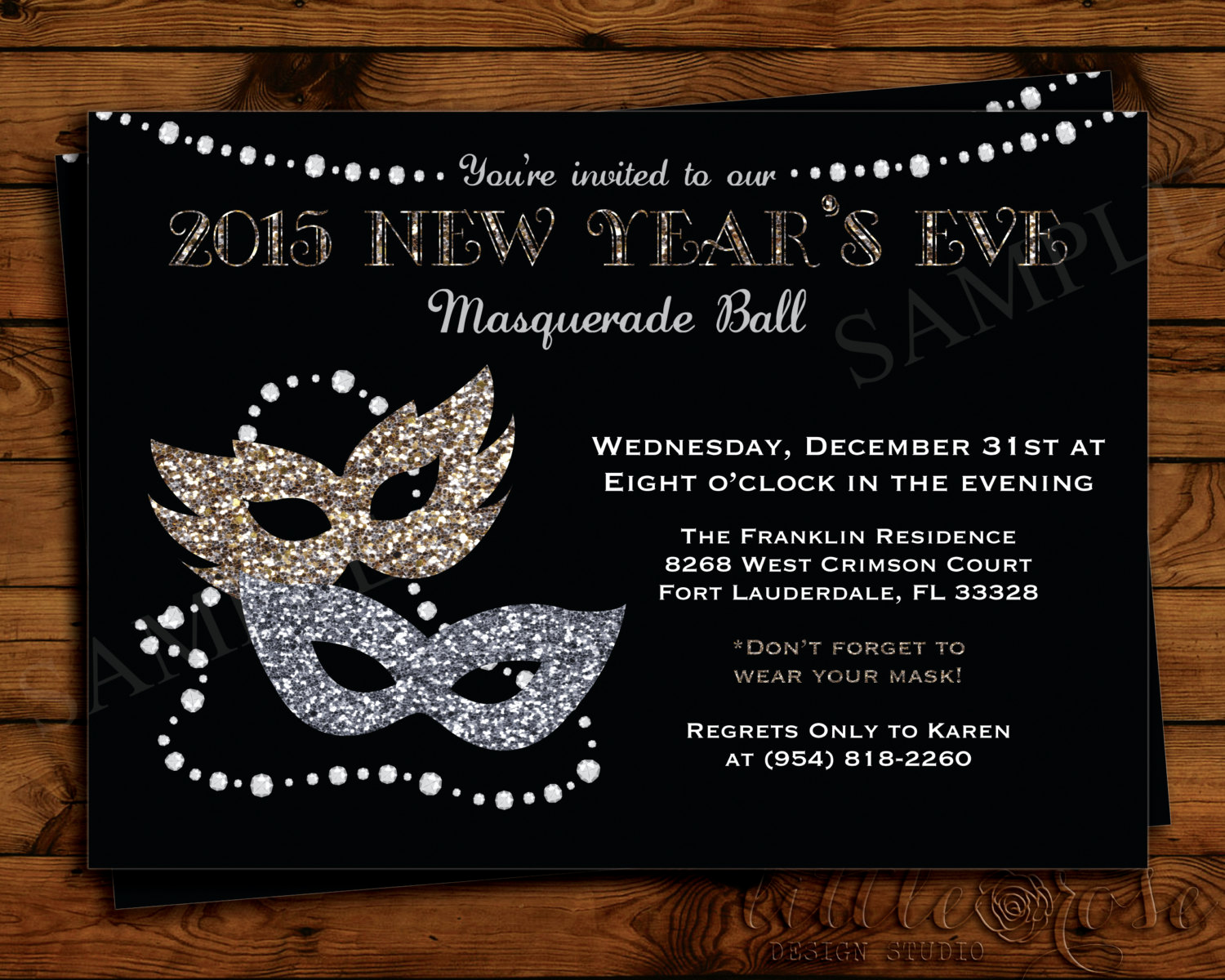 Masquerade Ball Invitation Wording New New Year S Eve Masquerade Party Invitation by Littlerosestudio