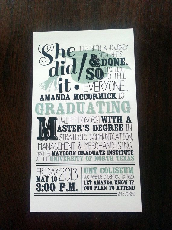 Masters Degree Graduation Invitation Wording Beautiful Graduation Announcement Digital by Mandypdesign On Etsy