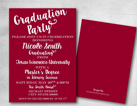Masters Degree Graduation Invitation Wording Beautiful Graduation Party Invitation Save the Date College Masters