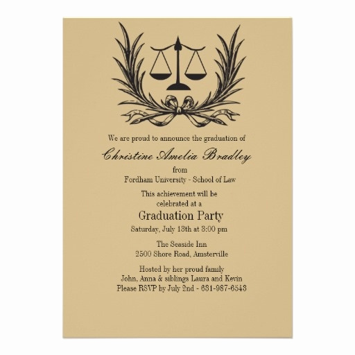 Masters Graduation Invitation Wording Luxury Justice Wreath Law School Graduation Invitation