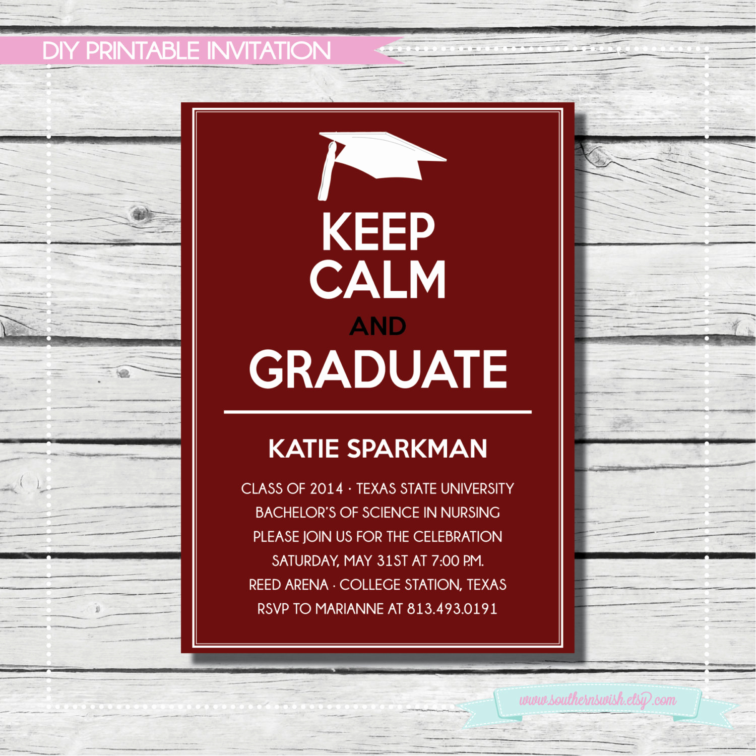 Masters Graduation Invitation Wording Unique Keep Calm and Graduate Graduation Invitation Maroon & White