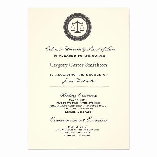Masters Graduation Party Invitation Wording Elegant Personalized Law School Graduation Announcements