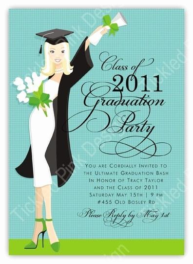 Masters Graduation Party Invitation Wording Unique Glamour Girl Blonde Graduation Invitation