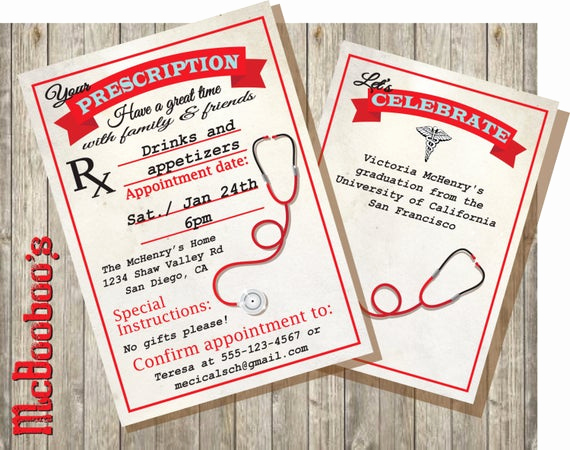 Med School Graduation Invitation Fresh Medical School or Nursing School Graduation Prescription