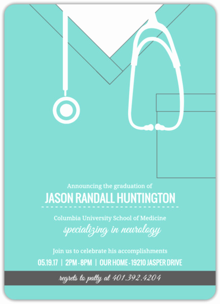Medical School Graduation Invitation Awesome Turquoise Scrubs Medical School Graduation Invitation