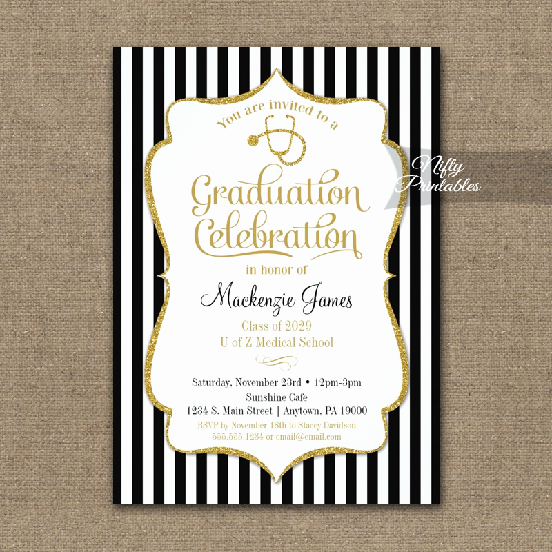 Medical School Graduation Invitation Fresh Medical School Graduation Party Invitation Printed Nifty