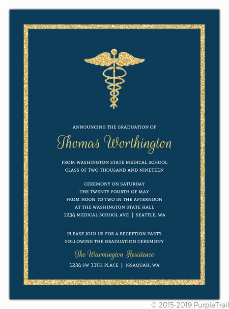 Medical School Graduation Invitation Luxury Bold Gold Faux Glitter Medical School Graduation