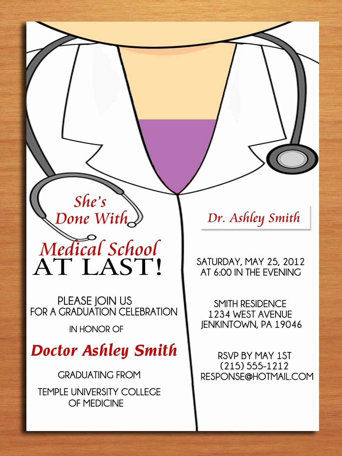 Medical School Graduation Invitation New Lab Coat Female Medical Degree Graduation Party Invitation