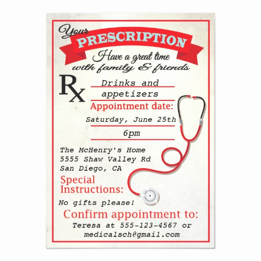 Medical School Graduation Invitation New Medical School Graduation Prescription Invitation