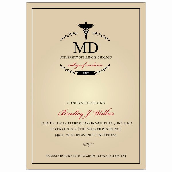 Medical School Graduation Invitation New Monogram Medical Degree Graduation Invitations