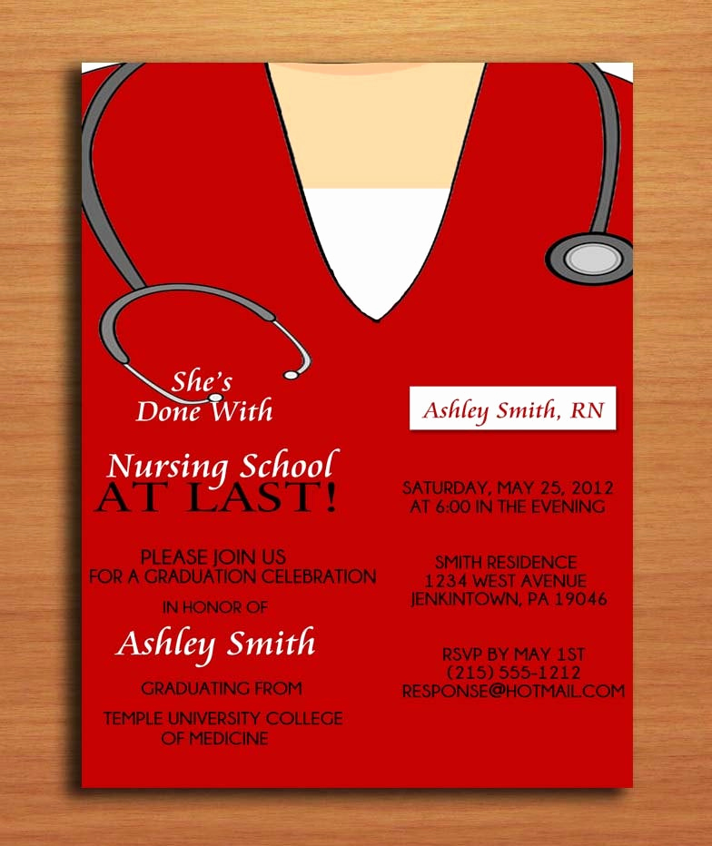 Medical School Graduation Invitation Unique Scrub top Nursing Medical Degree Graduation Party Invitation