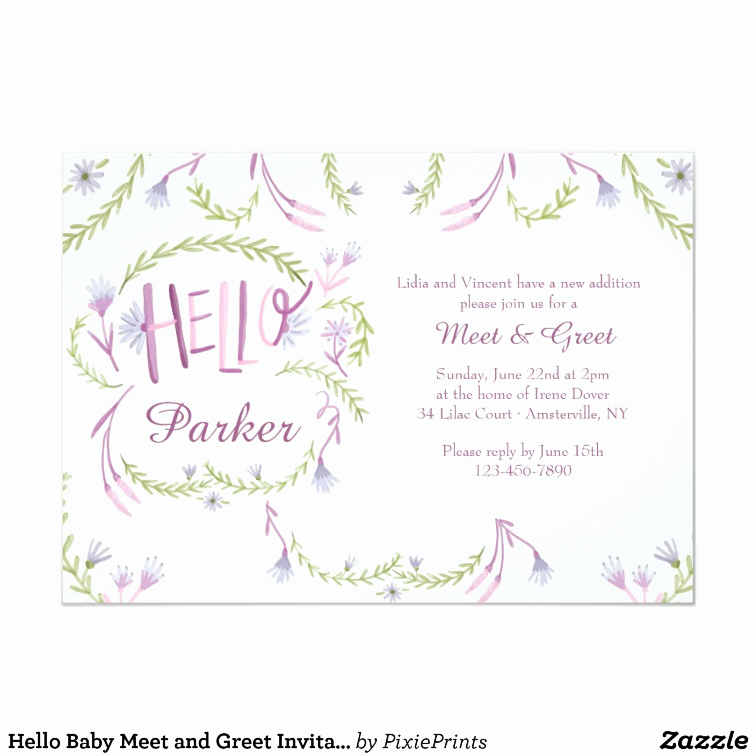 Meet and Greet Invitation Beautiful Hello Baby Meet and Greet Invitation