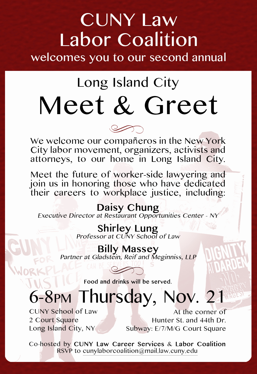 Meet and Greet Invitation Best Of Cuny Law Labor Coalition Invitation to 2nd Annual Meet