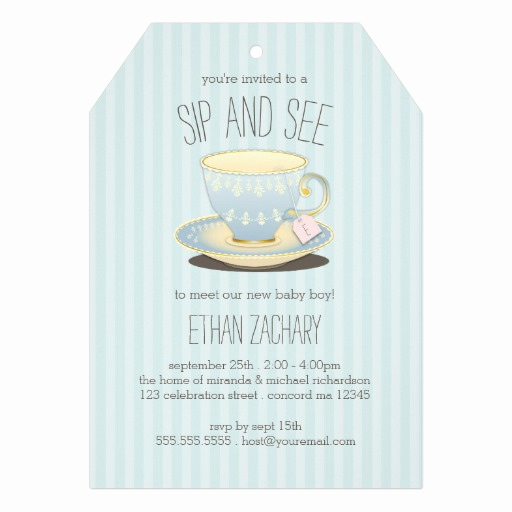 Meet and Greet Invitation Fresh Sip and See Teacup In Blue Baby Boy Meet & Greet Invites