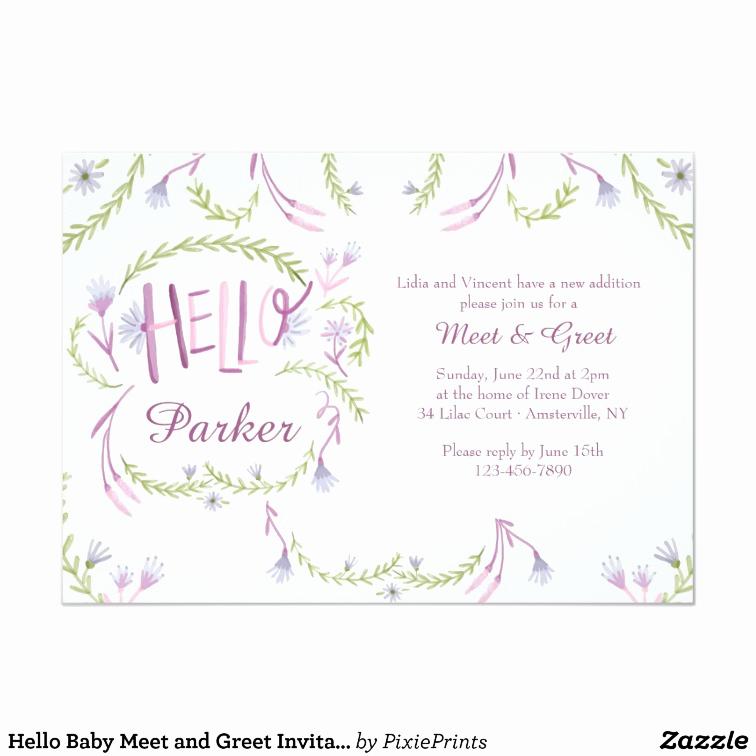 Meet and Greet Invitation Templates Elegant Hello Baby Meet and Greet Invitation