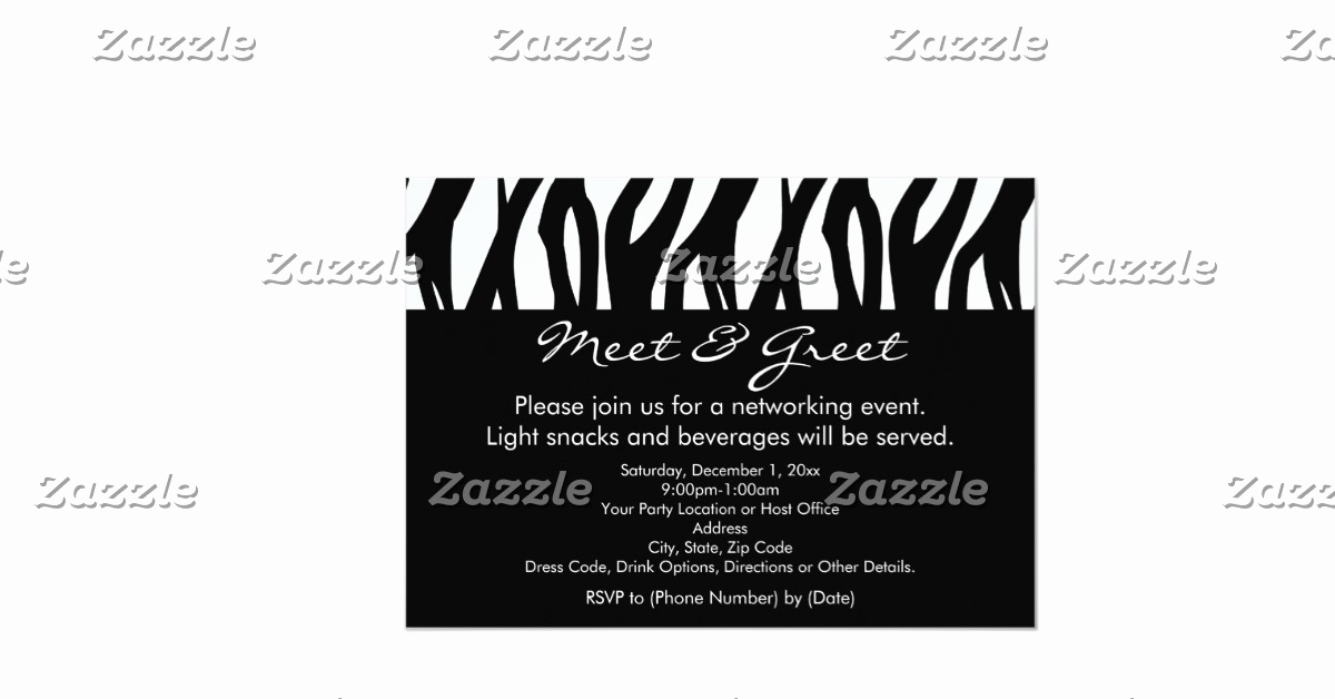 "Meet and Greet Invitation Templates Lovely Black White Zebra Meet and Greet Invitations 5"" X 7"