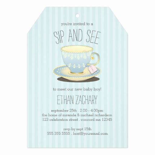 Meet and Greet Invitation Wording Best Of Sip and See Teacup In Blue Baby Boy Meet & Greet