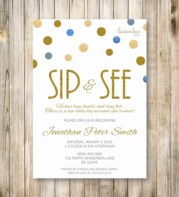 Meet and Greet Invitation Wording Elegant Items Similar to Sip and See Invitation Gold Blue Sip N