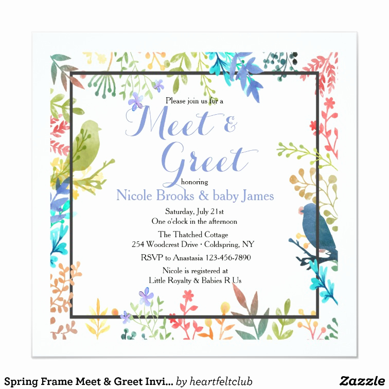 Meet and Greet Invitation Wording Fresh Spring Frame Meet & Greet Invitation