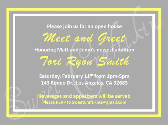 Meet and Greet Invitation Wording Luxury Sweetcraftikins On Etsy