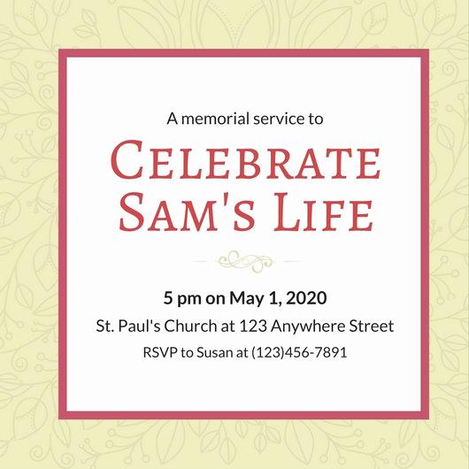Memorial Service Invitation Template Beautiful Customize 40 Funeral Invitation Templates Online Canva