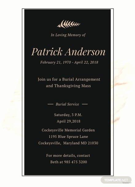 Memorial Service Invitation Template Free Awesome Memorial Service Invitation Template