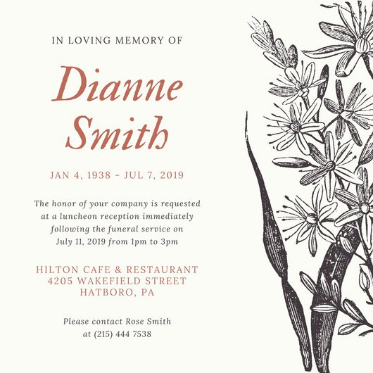 Memorial Service Invitation Template Free Beautiful Vintage Floral Funeral Invitation Templates by Canva