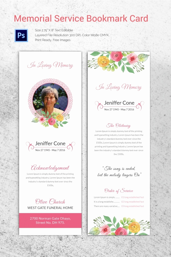 Memorial Service Invitation Template Free Best Of 20 Funeral Program Templates – Free Word Excel Pdf Psd