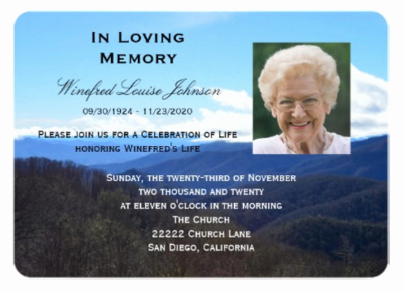 sample funeral invitation