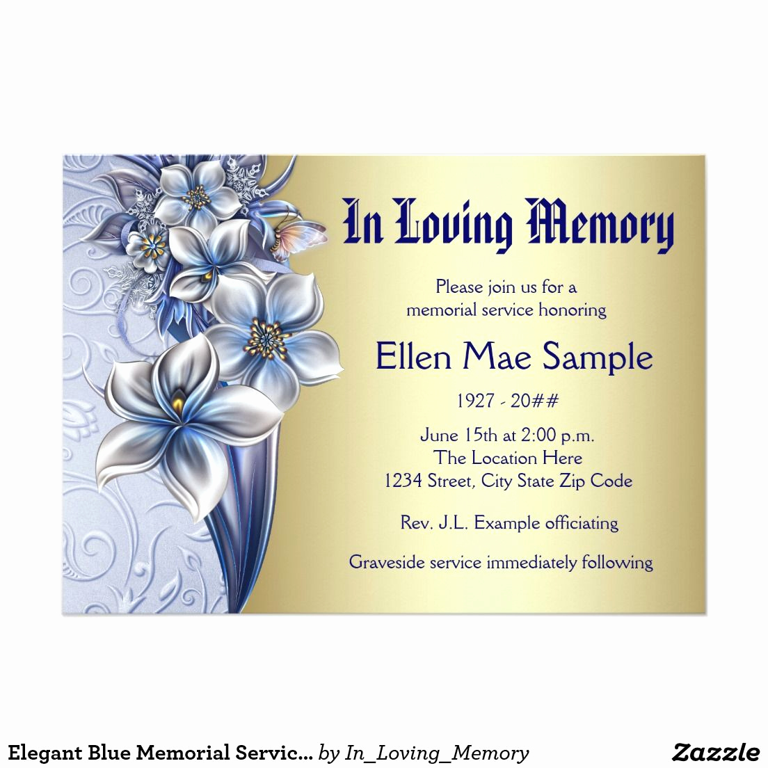 Memorial Service Invitation Template Free Elegant Elegant Blue Memorial Service Announcements