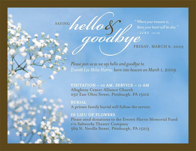 Memorial Service Invitation Template Free Fresh 7 Best Joanna Memorial Invitation Images On Pinterest