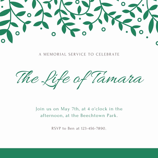 Memorial Service Invitation Template Free Lovely Customize 30 Funeral Invitation Templates Online Canva