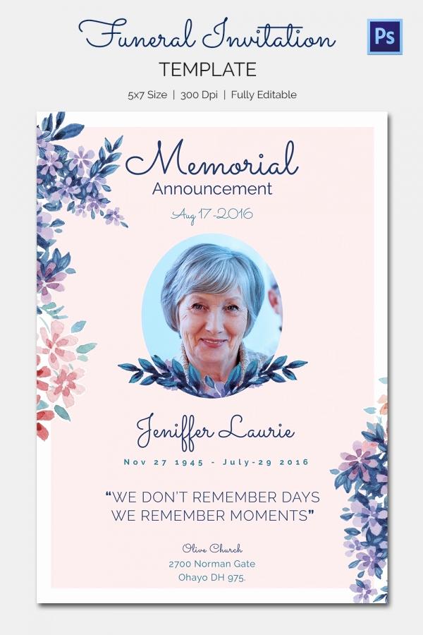 Memorial Service Invitation Template Free Luxury Funeral Invitation Template – 12 Free Psd Vector Eps Ai
