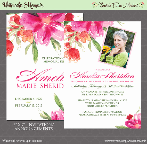 Memorial Service Invitation Template Free Luxury Funeral Memorial Announcement or Invitation and Free Thank