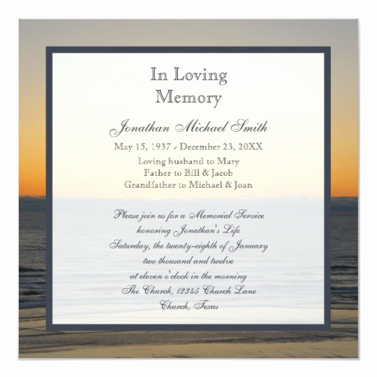 Memorial Service Invitation Template Free New Memorial Service Announcement Invitation