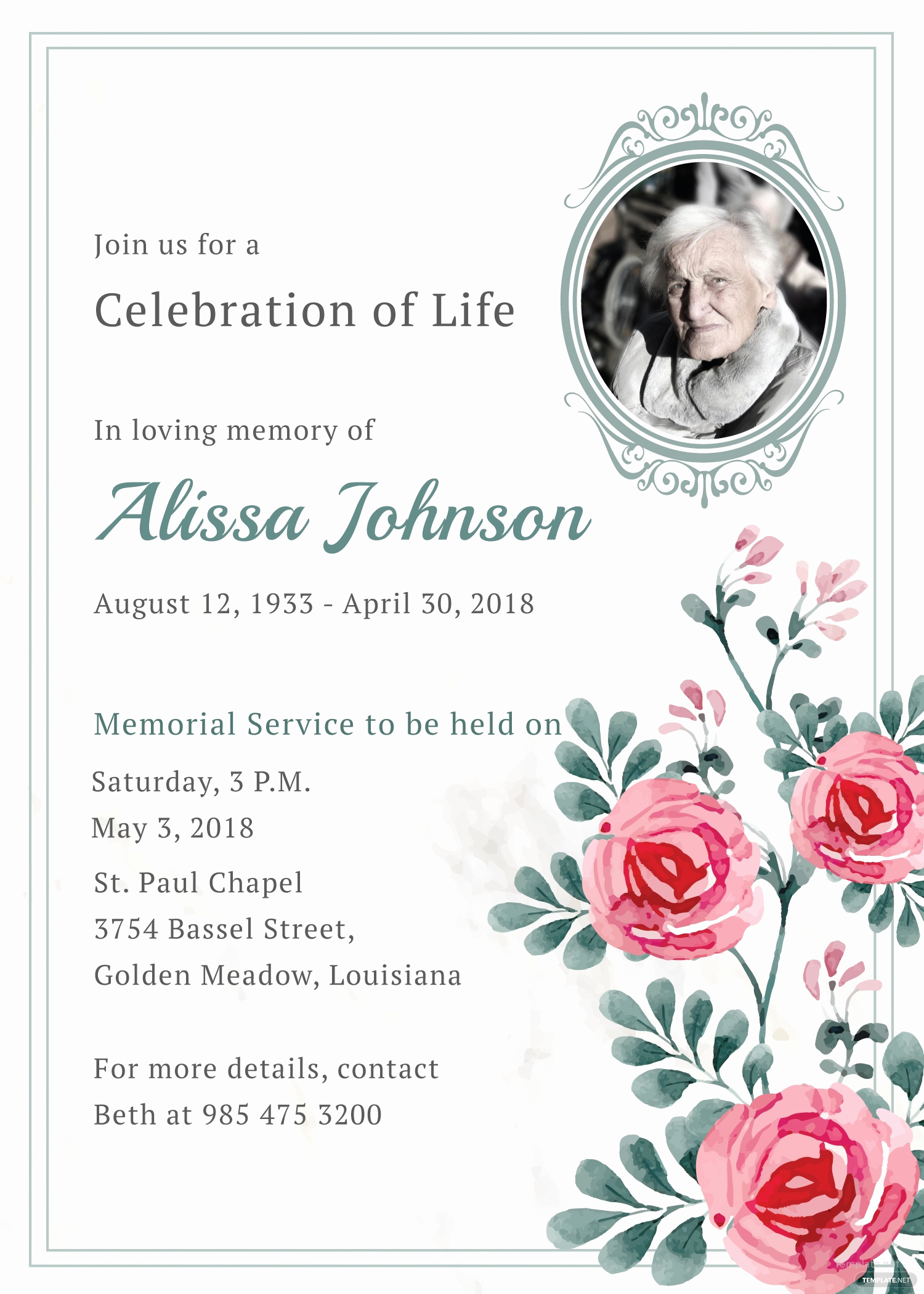 Memorial Service Invitation Template Free New Memorial Service Invitation Template In Adobe Illustrator